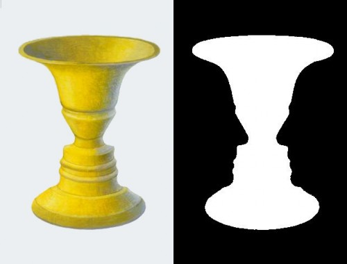 The famous figure-ground swapping Rubin's vase - or is it two faces? Picture provided by www.wpclipart.com