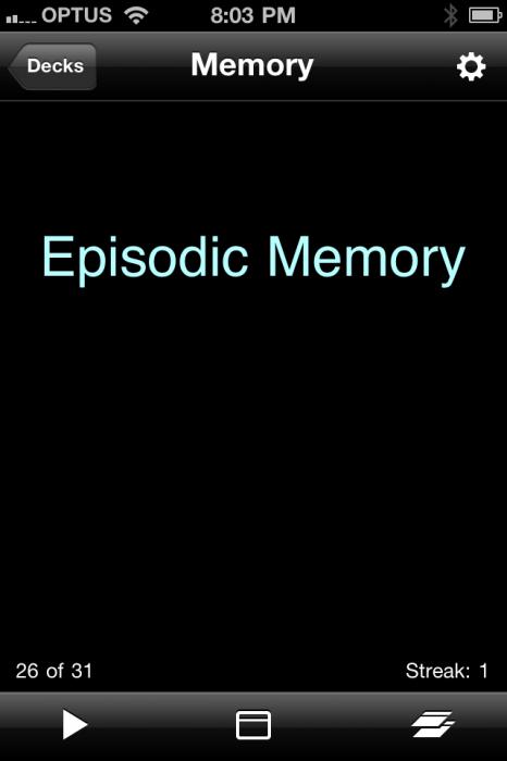 Memory flashcard episodic memory